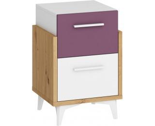 Nočný stolík Hey HEY-19 - dub artisan / biela / fialová
