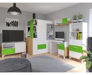 Študentská izba Hey - dub artisan / biela / zelená