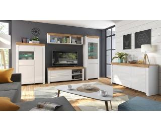 Obývacia izba Holten - biela / dub wotan / biely lesk