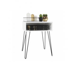 Nočný stolík Honej - biela / čierna