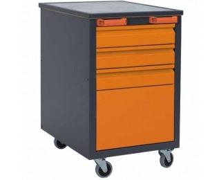 Mobilný kontajner k pracovnému stolu na kolieskach J1 - grafit / oranžová