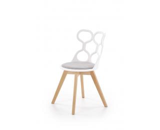 Jedálenská stolička K308 - biela / sivá / prírodná