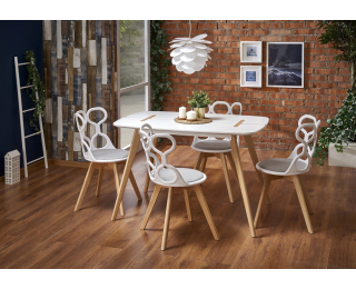Jedálenský stôl David - biela / buk