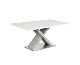 Jedálenský stôl Farnel 160 - biely lesk / betón