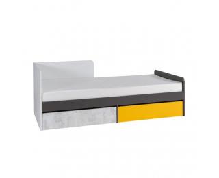 Jednolôžková posteľ s roštom Matel B7 90 - biela / sivý grafit / enigma / žltá