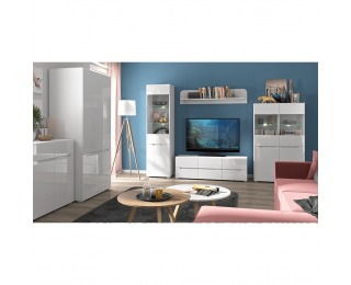 Obývacia izba Jolk - biela / biely lesk