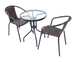 Záhradný set Jupiter 60 1+2 VIP - čierna / hnedá