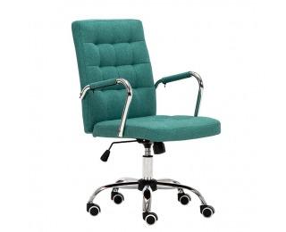 Kancelárske kreslo s podrúčkami Morgen - azúrová zelená / chróm