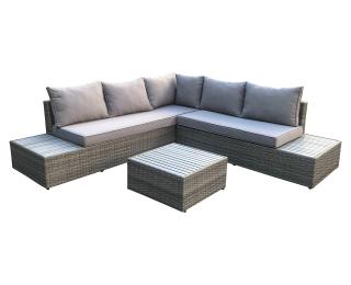 Záhradný nábytok z umelého ratanu Kasano - tmavosivá / sivá