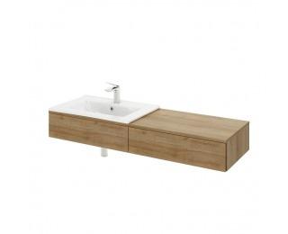 Kúpeľňová skrinka pod umývadlo Kiara US L - dub riviera / biely lesk