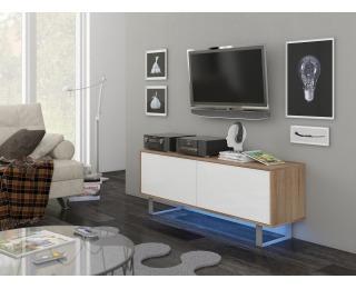 TV stolík King KIN-01 - sonoma svetlá / biely lesk