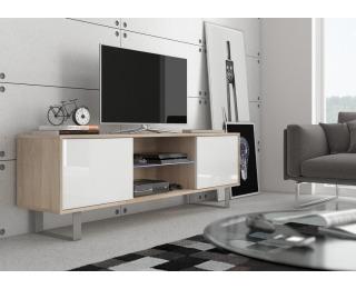TV stolík King KIN-02 - sonoma svetlá / biely lesk