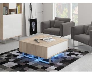 Konferenčný stolík King KIN-08 - sonoma svetlá / biely lesk