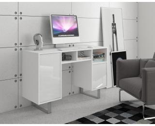 PC stôl King KIN-09 - biela / biely lesk