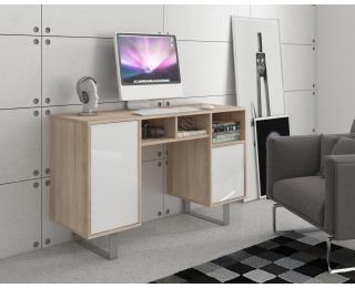 PC stôl King KIN-09 - sonoma svetlá / biely lesk