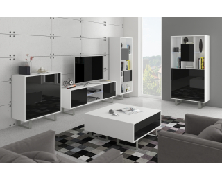 Obývacia izba King - biela / čierny lesk
