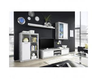 Obývacia stena s osvetlením Klark - biela / betón