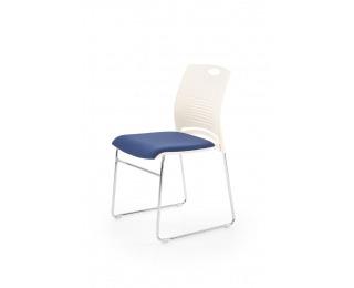Konferenčná stolička Cali - biela / modrá / chróm