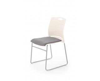 Konferenčná stolička Cali - biela / sivá / chróm