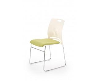 Konferenčná stolička Cali - biela / zelená / chróm