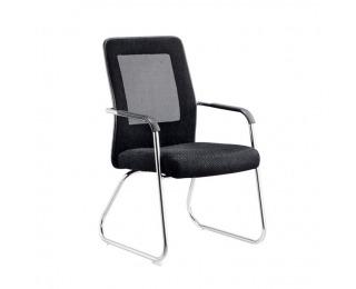 Konferenčná stolička Spazio - čierna / sivá / chróm