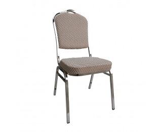 Konferenčná stolička Zina 3 New - béžová / vzor / chróm