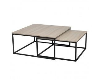 Konferenčný stolík (2 ks) Kastler Typ 1 - čierna / dub sonoma