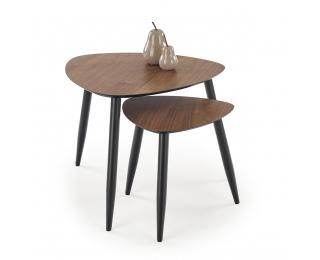 Konferenčný stolík (2 ks) Nicea - orech / čierna