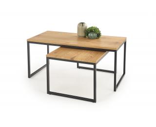 Konferenčný stolík (2 ks) Sabrosa - dub zlatý / čierna