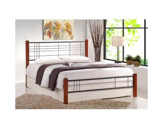 Kovová jednolôžková posteľ s roštom Viera 120 - čerešňa antická / čierna