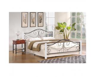Kovová manželská posteľ s roštom Violetta 140 - biela / čierna