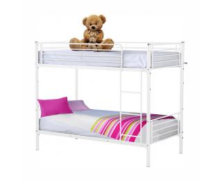 Kovová poschodová posteľ s roštom Jamila 90x200 cm - biela