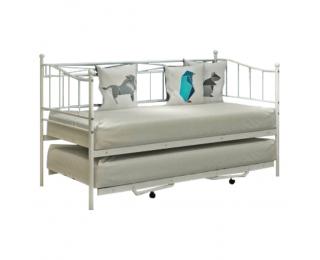 Kovová rozkladacia posteľ s prístelkou Zarola 90x200 cm - biela