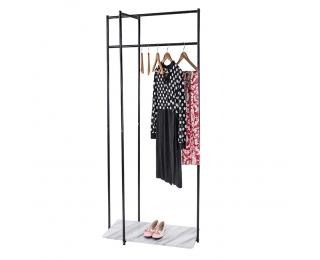 Kovový stojan na šaty Debro - čierna / mramor