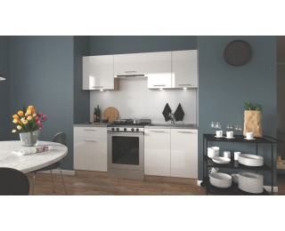 Kuchyňa Marija 200 - biely lesk / dub sonoma