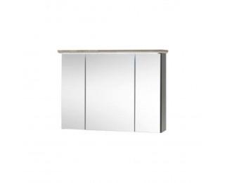 Kúpeľňová skrinka so zrkadlom Toskana - tmavosivá / dub