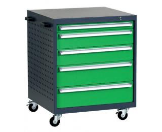 Mobilný kontajner k pracovnému stolu na kolieskach L4 - grafit / zelená