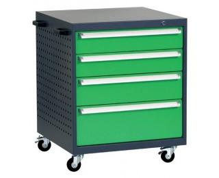 Mobilný kontajner k pracovnému stolu na kolieskach L7 - grafit / zelená