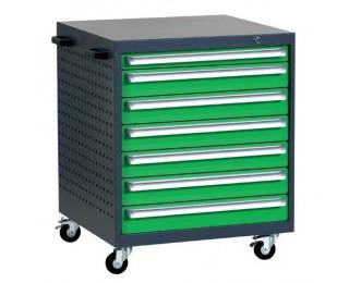Mobilný kontajner k pracovnému stolu na kolieskach L8 - grafit / zelená