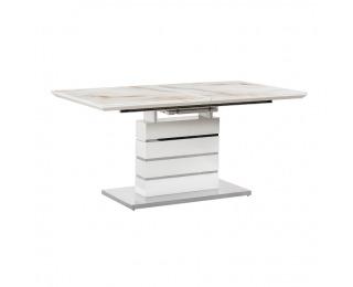 Rozkladací jedálenský stôl Lajos - mramorový vzor / biely lesk