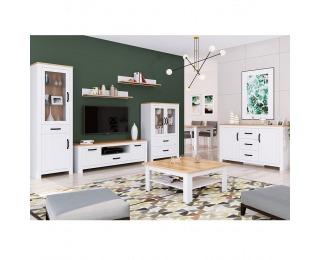 Obývacia izba Lanzette - biela alba / dub craft zlatý