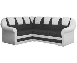 Rohová sedačka s rozkladom a úložným priestorom Latino II L - čierna (Berlin 02) / biela (Soft 17)