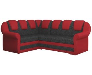 Rohová sedačka s rozkladom a úložným priestorom Latino II L - čierna / červená