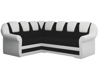 Rohová sedačka s rozkladom a úložným priestorom Latino II L - čierna (Sawana 14) / biela (Soft 17)