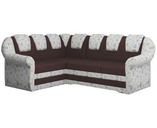 Rohová sedačka s rozkladom a úložným priestorom Latino II L - tmavohnedá / vzor