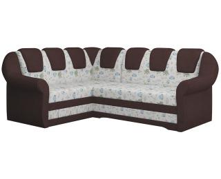 Rohová sedačka s rozkladom a úložným priestorom Latino II L - vzor / tmavohnedá