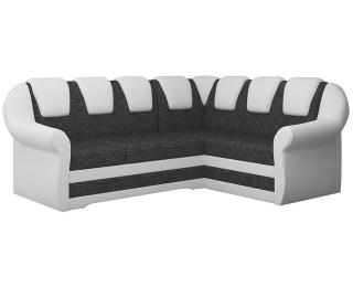 Rohová sedačka s rozkladom a úložným priestorom Latino II P - čierna (Berlin 02) / biela (Soft 17)