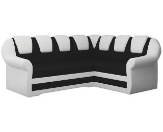 Rohová sedačka s rozkladom a úložným priestorom Latino II P - čierna (Sawana 14) / biela (Soft 17)