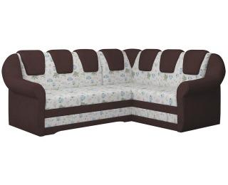 Rohová sedačka s rozkladom a úložným priestorom Latino II P - vzor / tmavohnedá