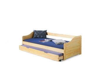 Drevená rozkladacia posteľ s prístelkou Laura 90 - borovica